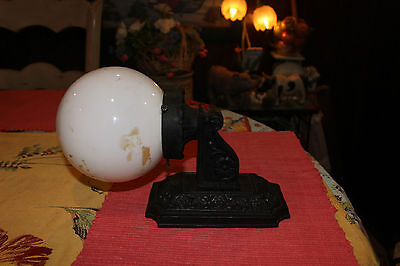 Antique Cast Iron Art Deco Wall Lamp W/Globe-Floral Patterns-Architectural Light 2