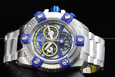"Invicta 63mm Reserve Grand Octane Arsenal ""PINNACLE"" Swiss Silver Blue SS Watch 3"