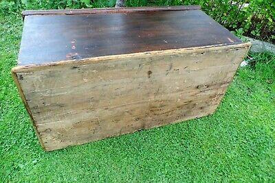 Antique Victorian Old Pine Chest / Trunk / Blanket Box c1860 12