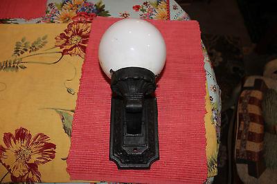 Antique Cast Iron Art Deco Wall Lamp W/Globe-Floral Patterns-Architectural Light 6