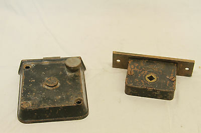 "Antique Architectural Salvage Brass Door Lock & Brass Pulls Original 3 3/4"" Key 7"