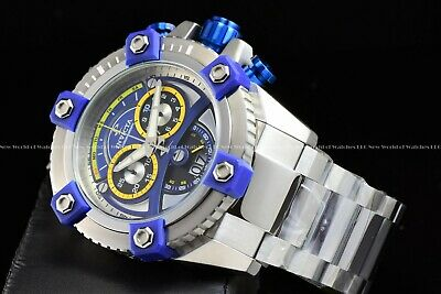 "Invicta 63mm Reserve Grand Octane Arsenal ""PINNACLE"" Swiss Silver Blue SS Watch 4"