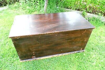 Antique Victorian Old Pine Chest / Trunk / Blanket Box c1860 2