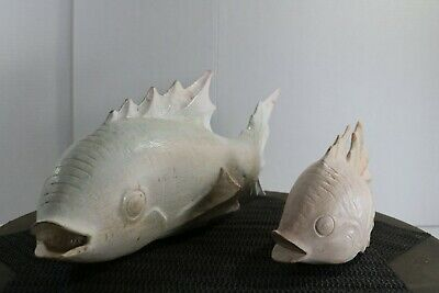 Carved (1) Large and (1) Small Wooden Japanese White Koi Fish Carving NICE! 3