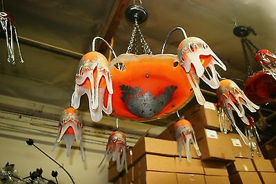 Signed Art Deco Style Hand Crafted Glass Chandelier Silvered Painting Coated 2
