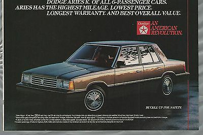 1984 DODGE ARIES K advertisement, Chrysler ad, Aries K-Car
