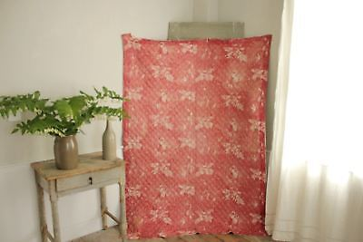 Antique French toile de Normandy c 1820 red quilted textile linen backed 2