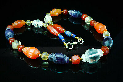 Assortment Ancient Beads Collared Bicone Carnelian Amethyst Crystal Necklace 4