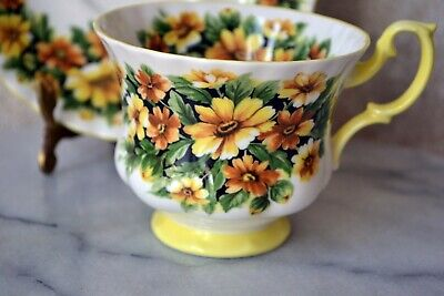 TEACUP and SAUCER SET - Royal Albert Fragrance Series MARGUERITE Flower, England 4