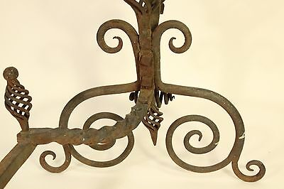 Antique Tiffany Roycroft Style Twisted Spiral Wrought Iron Fireplace Andirons 6