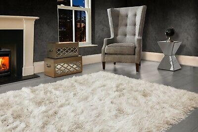 Ivory Cream Large SHAGGY Floor RUG Soft SPARKLE Shimmer Extra Thick 9cm Pile 2