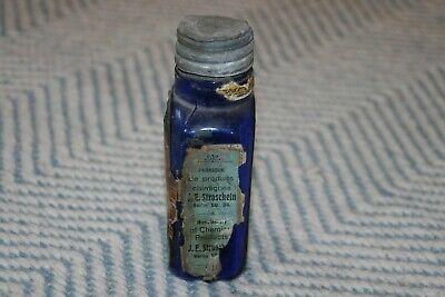 Alte Flasche - Antike Flasche - kobaltblau - Etikett 2