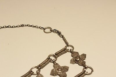 Rare Post Medieval Unique Hand Made Low Sample Silver Necklace With Crosses 7