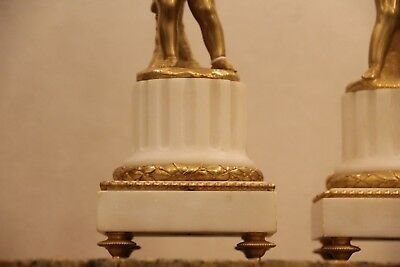 Pair of French Putti Ormolu Patinated Bronze White Marble Candlesticks Gilt gold 6