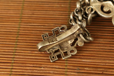 Nice tibet silver hand carved flower shou netsuke not snuff box Netsuke 6