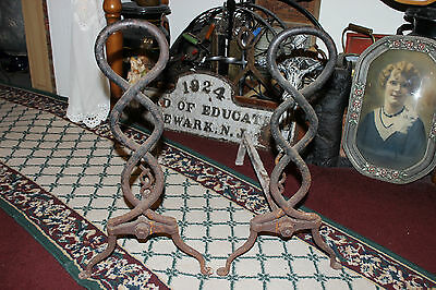 Antique Cast Iron Fireplace Andirons-Unusual Twisted DNA Strand-Large Andirons 2