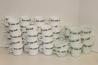 Corelle Pyrex Pyroceram Holly Days by Corning; Platter Plate Mug Cup Saucer 6