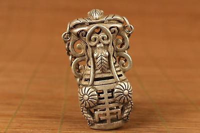 Nice tibet silver hand carved flower shou netsuke not snuff box Netsuke 2