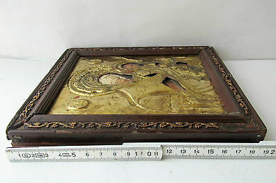 Antique Russian icon with gilded brass oklad (Riza) Virgin and Child 10