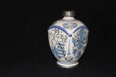 Apothekerkrug Keramikkrug Apothekergefäß mit Zinn Schraubverschluß Ulmer Keramik