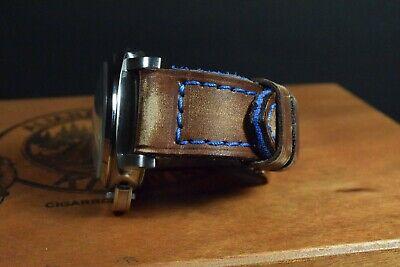 Correa Reloj Genuino Cuero Vintage Apta Panerai Etc Ma Strap Colorum Marron Azul 7