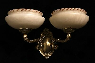 Carved alabaster shades wall lights sconces solid double arms bronze 2