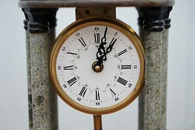 Vintage Marble Pillared Clock With Working Pendulum Movement Nautical Theme 3