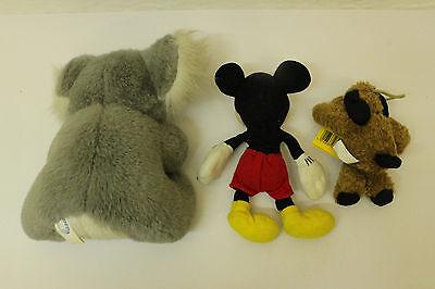 ESF-00944Ältere 3 St. Stoff Tiere Micky Maus ca. 17 cm, verschiedene Hersteller