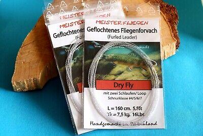versch.Stärken GREYS Greylon Copolymer knotenlos verjüngtes Fliegenvorfach