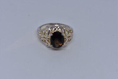Vintage Genuine Smoky Topaz Deco 925 Sterling Silver Ring 6