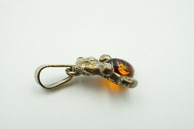 Lovely Baltic Amber  Pendant Children Teddy Bear with Silver 925