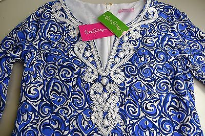 40ab4c4d83bc39 ... New Lilly Pulitzer JULIANNA EMBROIDERED TUNIC DRESS Indigo Chasing Tail  S 2