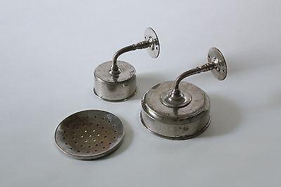 antique bathroom cup soap holder | vtg brass nickel victorian bath tumbler 6