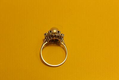 Damen Ring 585 Gold  14ct. 1 Perle 6 Saphir, 18mm #8154 4