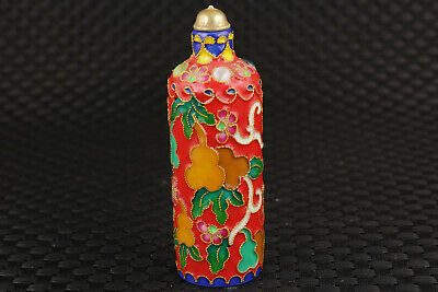 chinese red cloisonne hand painting calabash Statue Collect fine snuff bottle 6