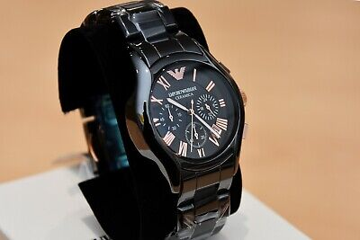New Emporio Armani Men's Watch Ar1410 Black/Rose Gold Ceramica Chronograph 6