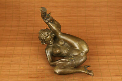 "9"" Antiques big copper hand carved statue collectable woman Statue 7"