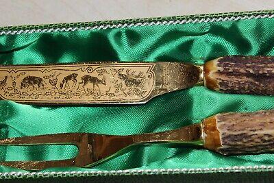 Vieux Viande Couverts avec Hirschhorn Poignée dans Étui Doré 33cm 4