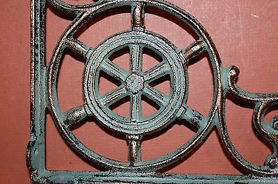 (8)Pcs, Sailing Wall Decor, Shelf Brackets, Ships Wheel, Helm, Bronze-Look, B-31 5