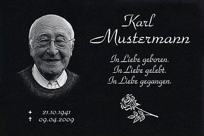 Grabdeko mit Foto Grabplatte Granit Grabstein Text Gravur 60 x 40 cm  DS-103