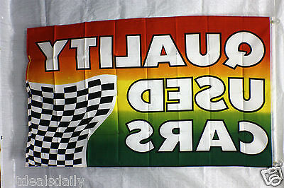 QUALITY USED CARS  flag 3/'x5/' banner MASTERCARD VISA BUSINESS CONCESSION BRIGHT