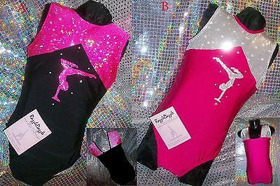Gymnastics Leotard Black Dance Sparkly Pink Girls Tap Sleeveless Razzledazzle UK