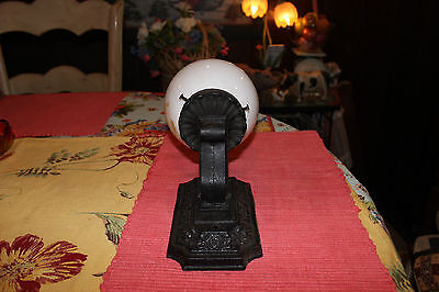 Antique Cast Iron Art Deco Wall Lamp W/Globe-Floral Patterns-Architectural Light 3