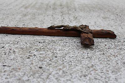 Antique Art Brass on Sculpted Wood Wall Crucifix Cross Jesus Christ INRI 6