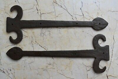 Vintage Cast iron gate door hinges Vintage french head barn rusty 2 pcs 6