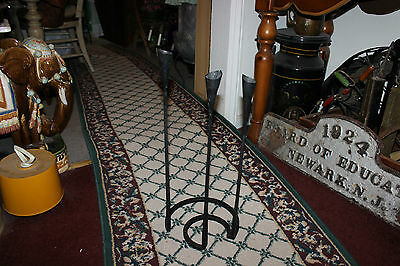 Interesting Gothic Medieval Floor Standing Candelabra-Iron Steel-Holds 3 Candles 3
