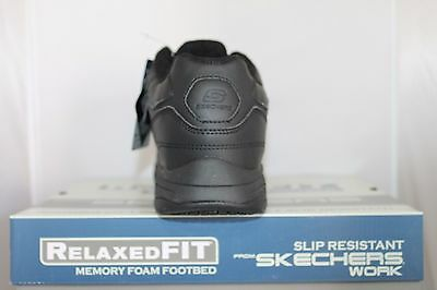 7d7b0999ce932 ... Skechers FELTON 77032 Memory Foam Slip Resistant Work Shoes Black  Medium Wide 7