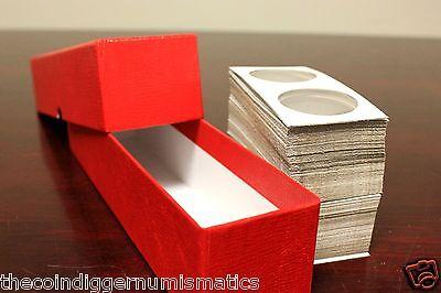 100 QUARTER 2x2 Coin Holder Flip Mylar Cardboard + Storage Box GUARDHOUSE Case 3