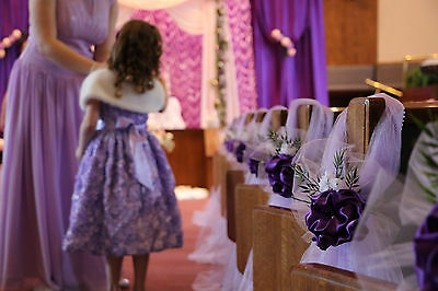 Purple wedding decorations chair bows pew bows satin church 3 of 4 purple wedding decorations chair bows pew bows satin church aisle decor junglespirit Choice Image