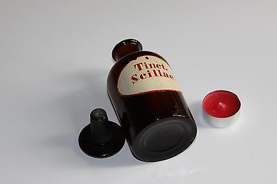Apothekerflasche, Form selten, rund, alt, TINCT. SCILLAE, SCHLIFF STOPFEN 3